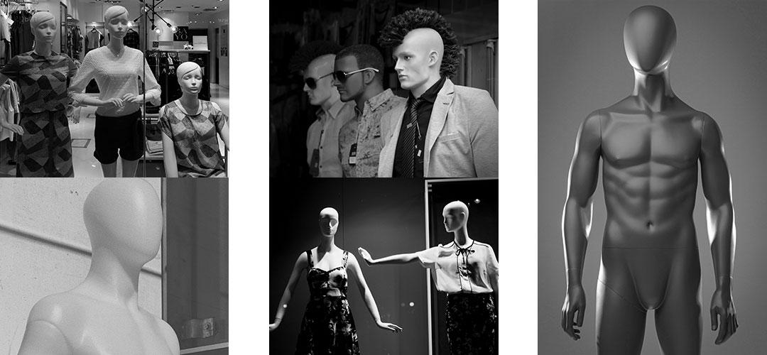 Différents types de mannequins de vitrine, cheveux moulés, avec perruques, flexibles, stylisés